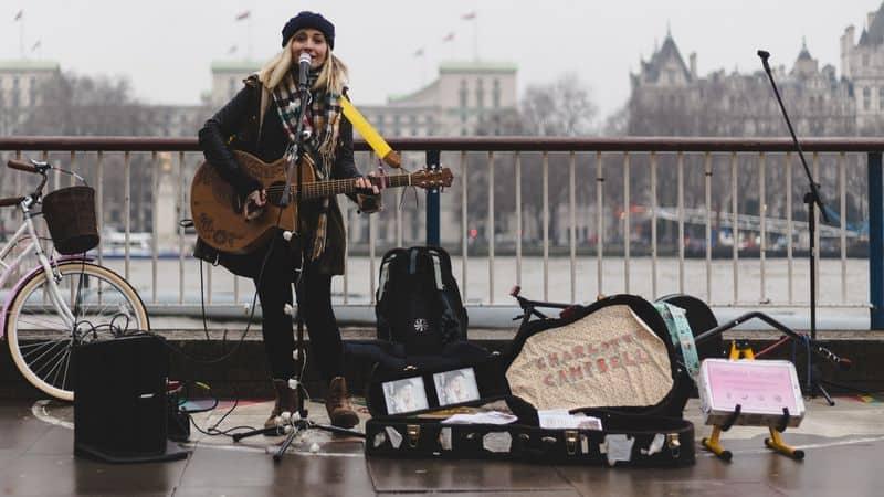 Singer busking on the street