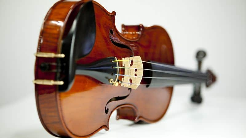 Violin lying on its side