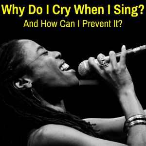 Woman crying while singing