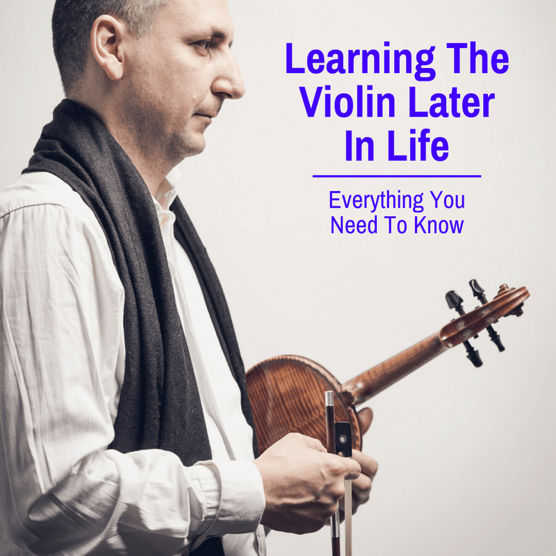 Adult learning the violin