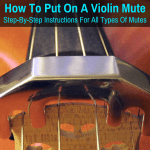 Mute installed on violin