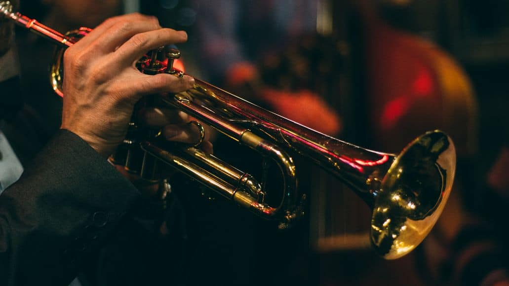 Trumpet with focus on the bell