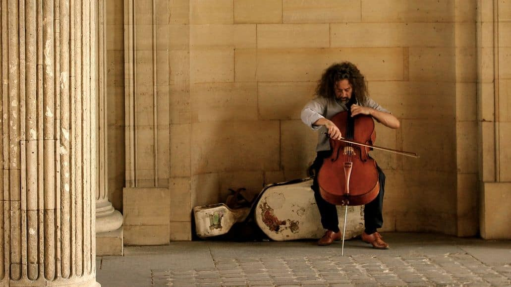 Cellist playing on the street