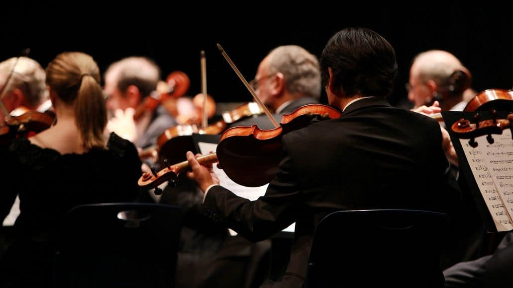 Violins and cellos in an orchestra