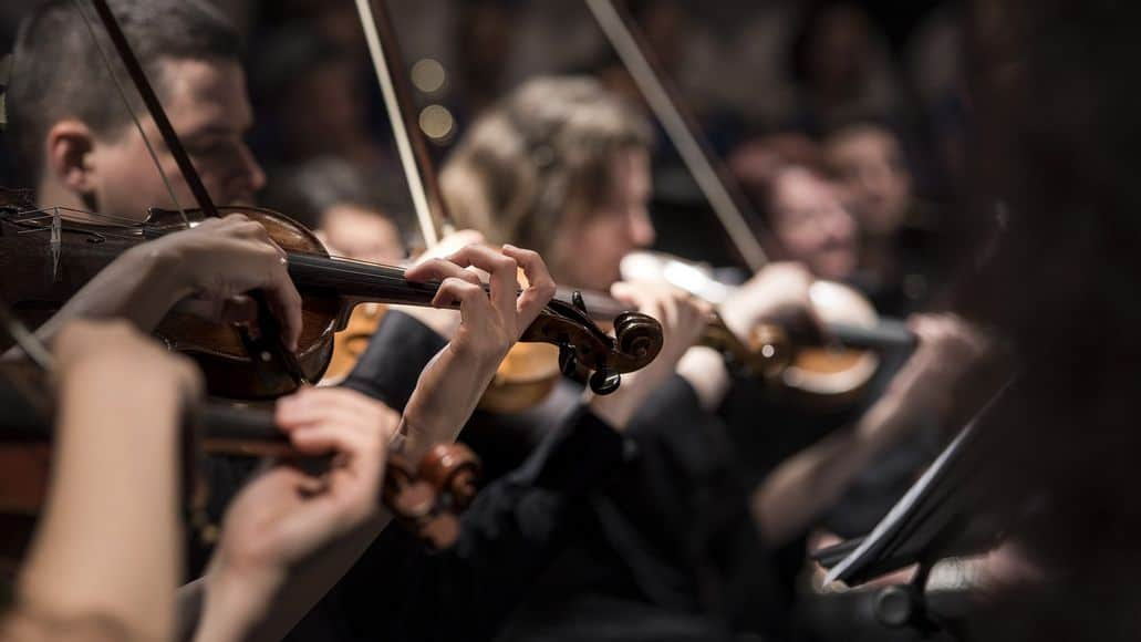 Acoustic violins in an orchestra