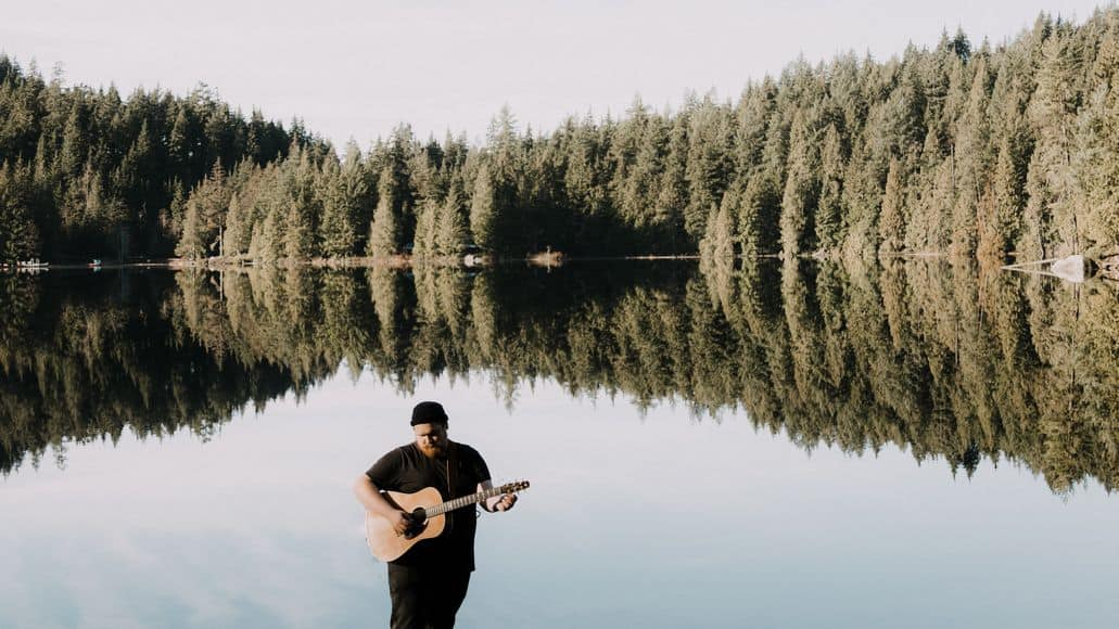Practicing singing in open space in nature