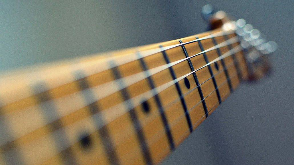 guitar neck with clean strings
