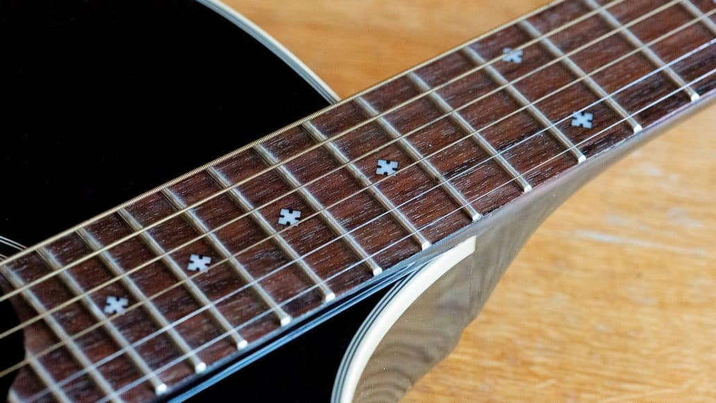 Frets on a classical guitar