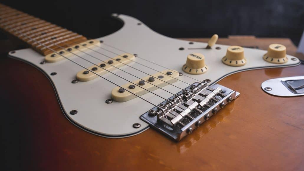 Guitar bridge close up
