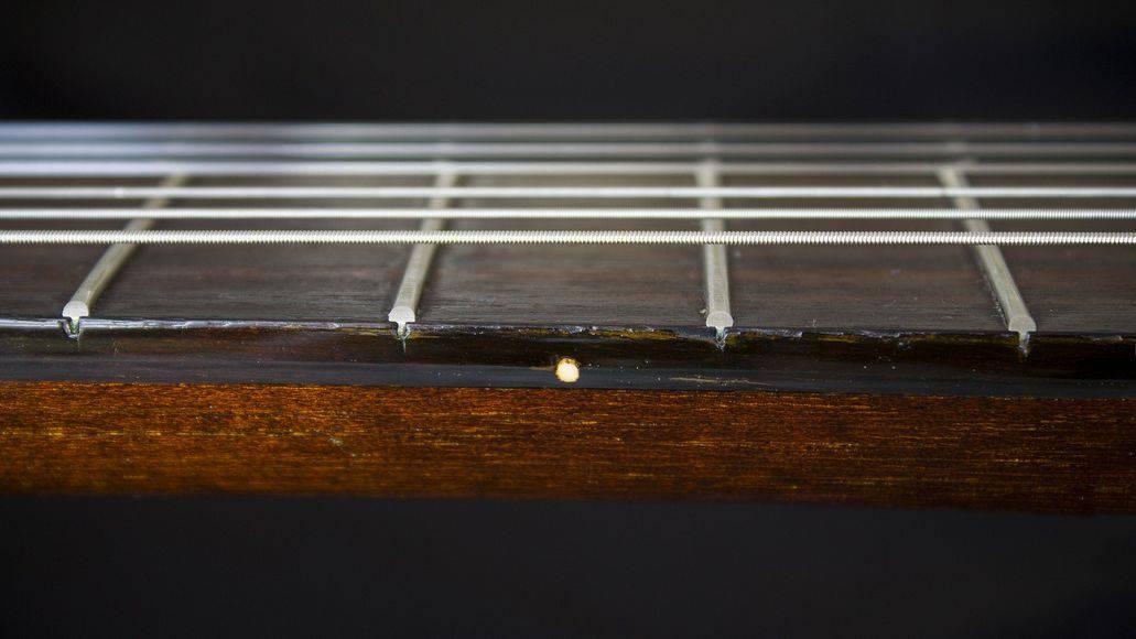 Guitar fretboard up close