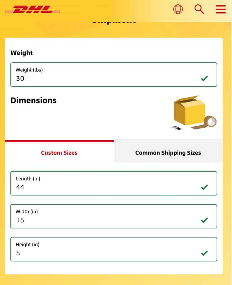 DHL shipping package size and weight form